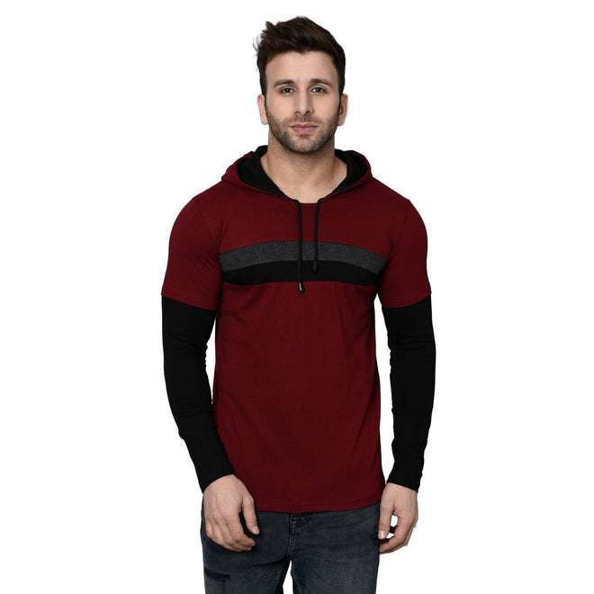 Men's Maroon Cotton Blend Self Pattern Hooded Tees