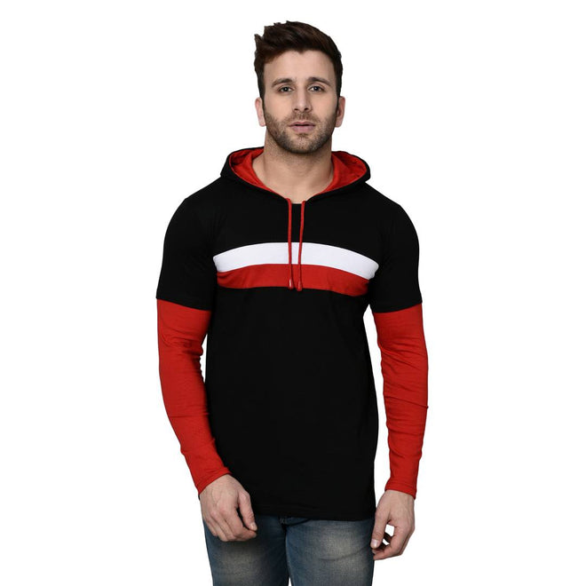 Men's Black Cotton Blend Self Pattern Hooded Tees