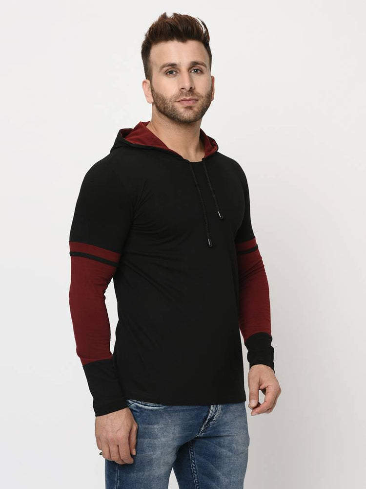 Men's Black Cotton Blend Self Pattern Hooded Tees - pricegrill.com