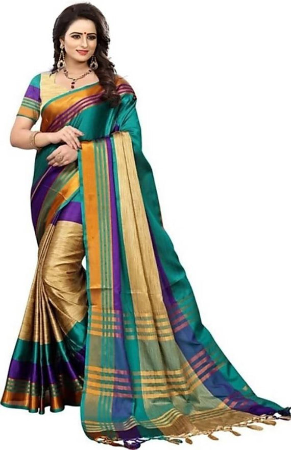 Trendy Cotton silk Saree With Blouse Piece - pricegrill.com