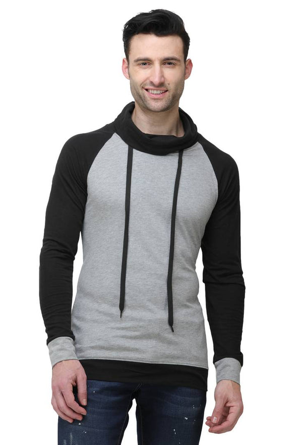 Men's Grey Cotton Blend Self Pattern High Neck Tees - pricegrill.com
