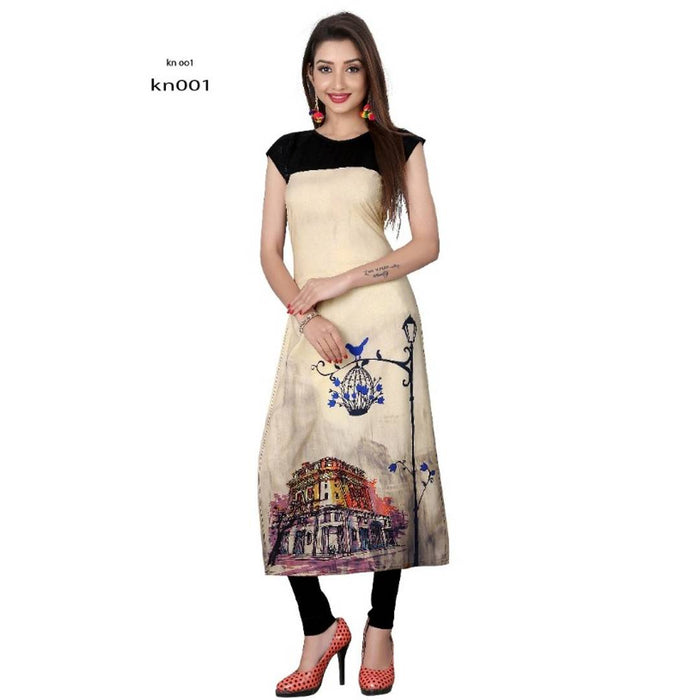 Trendy Digital Printed American Crepe Cap Sleeves Kurta