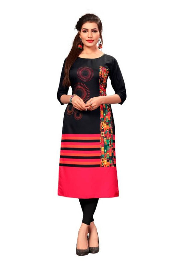 New Ethnic 4 You Women's Multicolor Printed Full-Stitched Crepe Straight Kurta - pricegrill.com