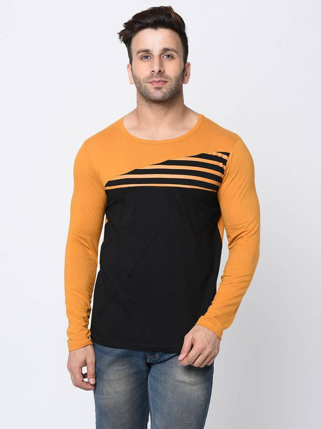 Men's Multicoloured Cotton Self Pattern Round Neck Tees