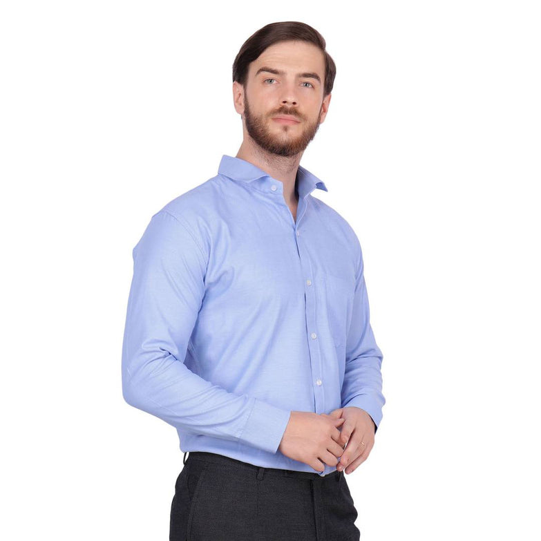 Men's Blue Cotton Long Sleeve Solid Regular Fit Formal Shirt