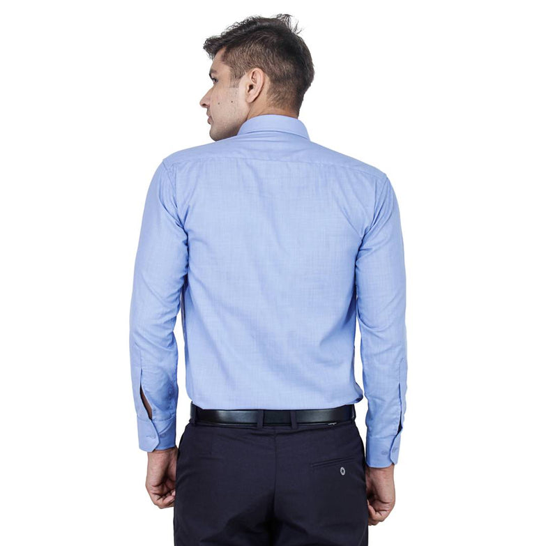 Men's Blue Cotton Long Sleeve Solid Regular Fit Formal Shirt - pricegrill.com