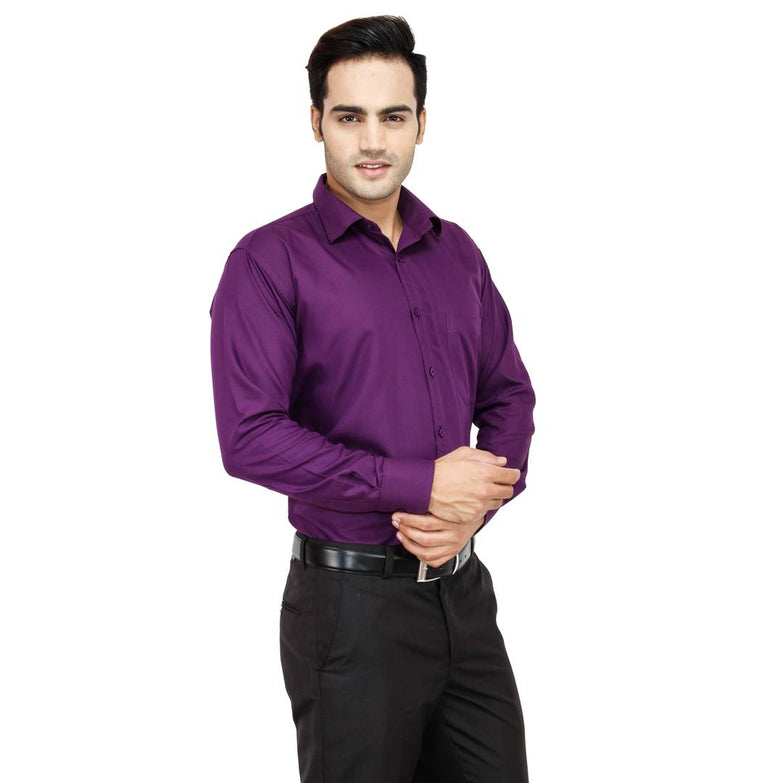 Men's Purple Cotton Long Sleeve Solid Regular Fit Formal Shirt - pricegrill.com