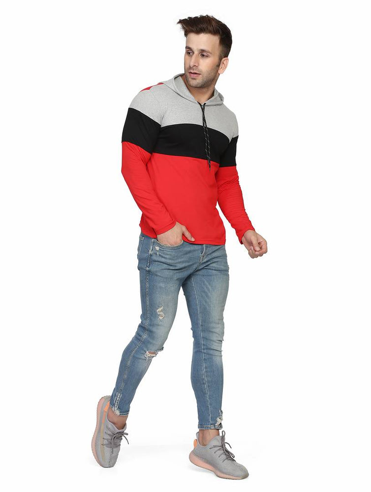 Men's Multicoloured Cotton Colourblocked Hooded Tees