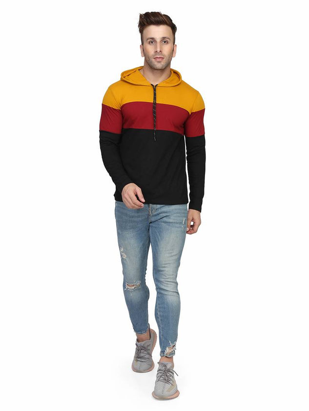 Men's Multicoloured Cotton Colourblocked Hooded Tees - pricegrill.com