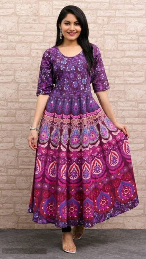 Elite Cotton Printed Anarkali Women's Kurta - pricegrill.com