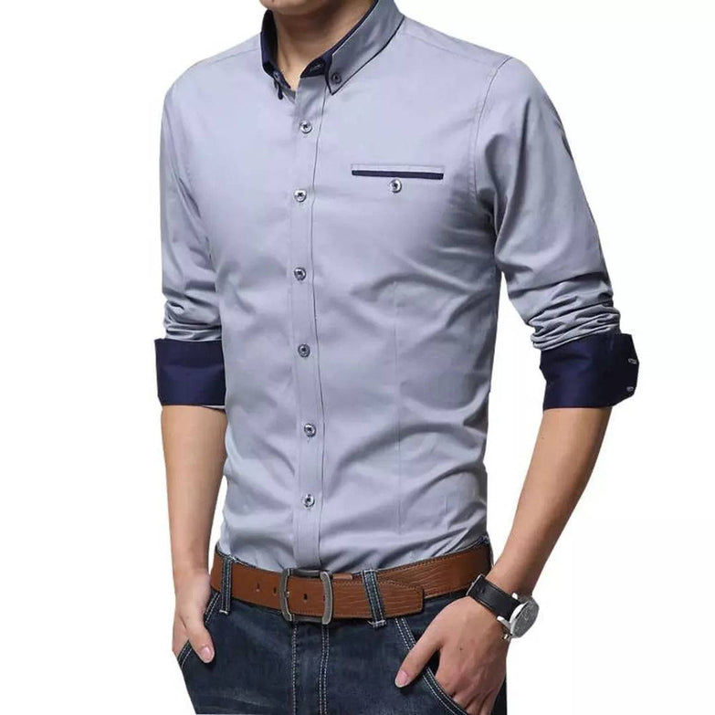 Men's Grey Cotton Long Sleeves Regular Fit Casual Shirts