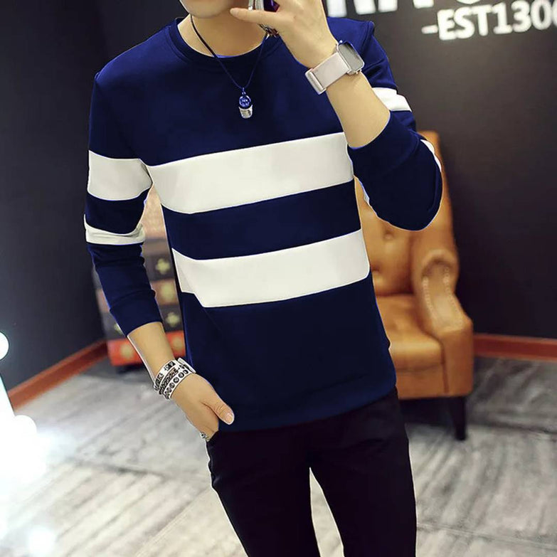Seven Rocks Men's Navy Blue Striped Cotton Round Neck Tees