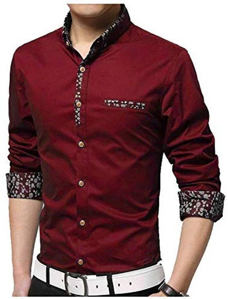 Men's Red Cotton Self Pattern Long Sleeves Regular Fit Casual Shirt - pricegrill.com