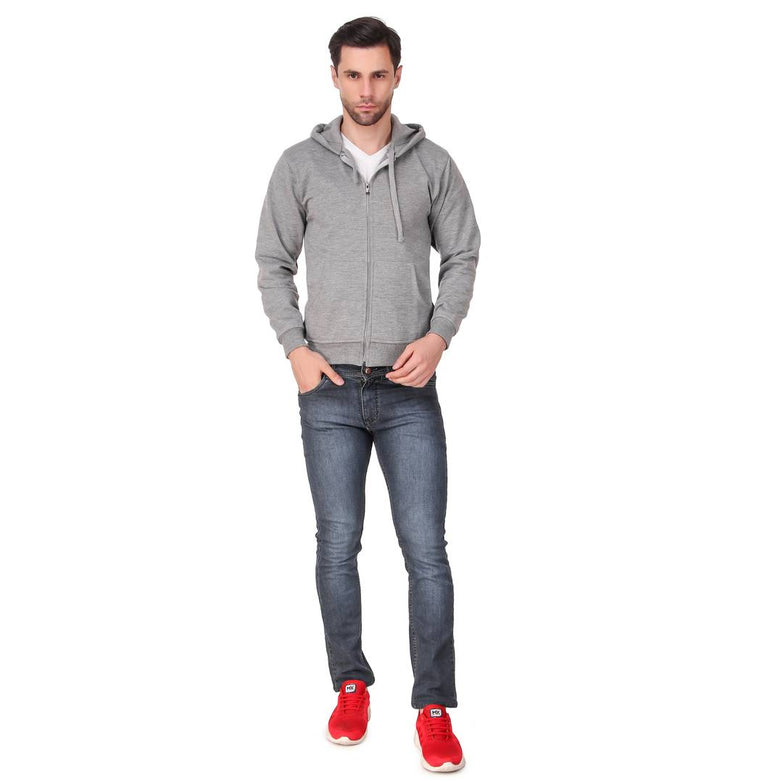 Grey Solid  Cotton Hooded Zipper Sweatshirt  for Men's