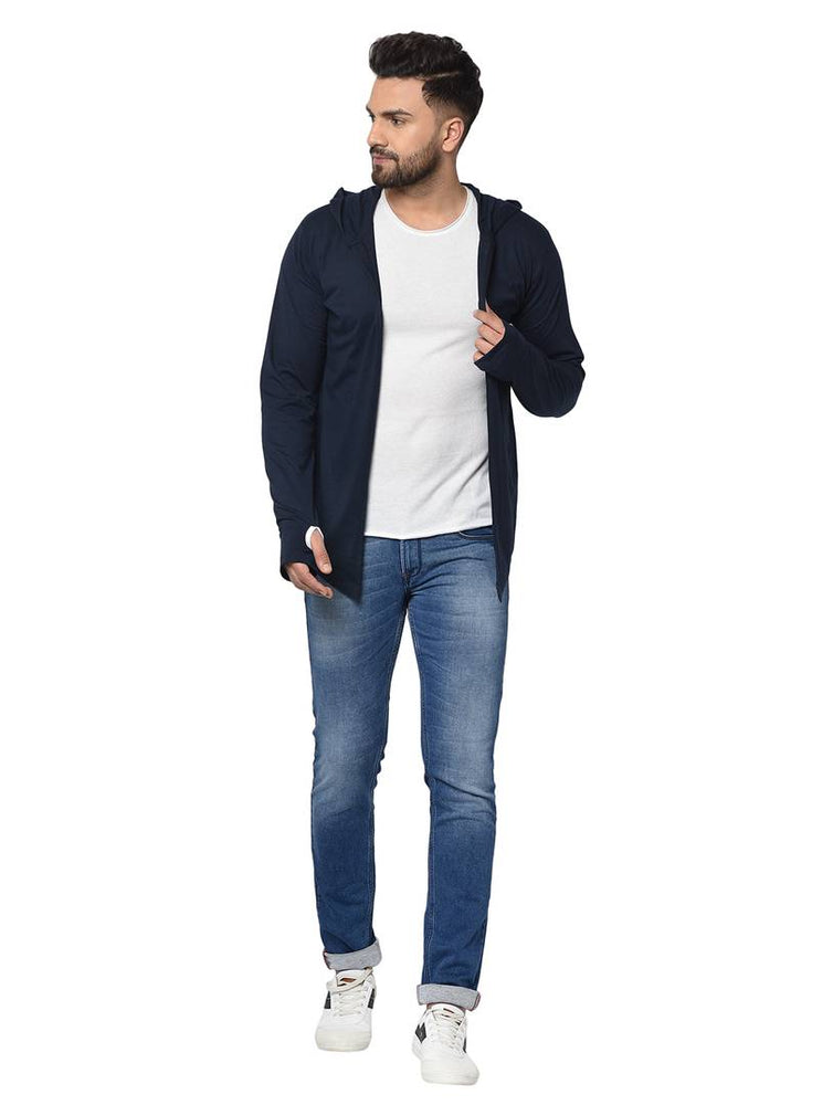 Men's Blue Polycotton Solid Long Sleeves Hooded Cardigan