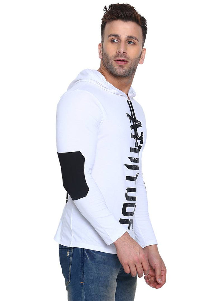 Men's White Cotton Printed Hooded Tees - pricegrill.com
