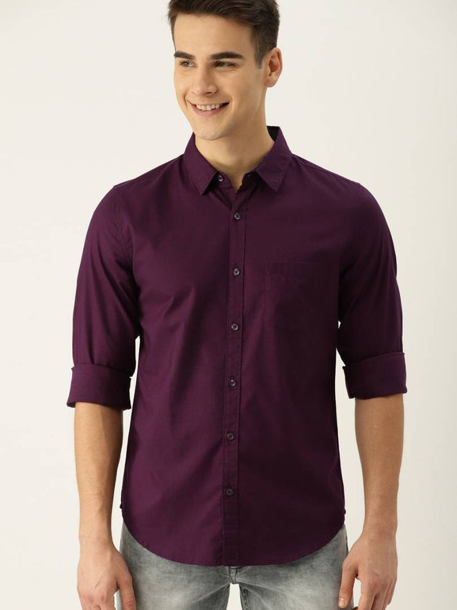 Men's Purple Cotton Solid Long Sleeves Regular Fit Casual Shirt - pricegrill.com