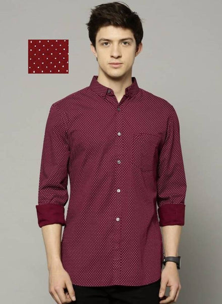 Men's Maroon Cotton Printed Long Sleeves Regular Fit Casual Shirt
