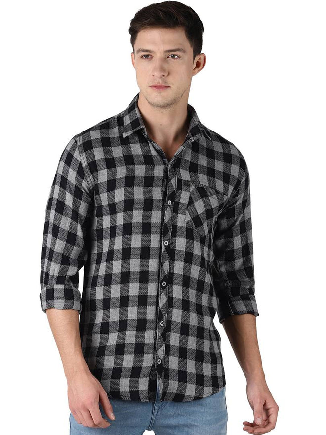 Levizo Men's Multicoloured Cotton Checked Long Sleeves Regular Fit Casual Shirt - pricegrill.com