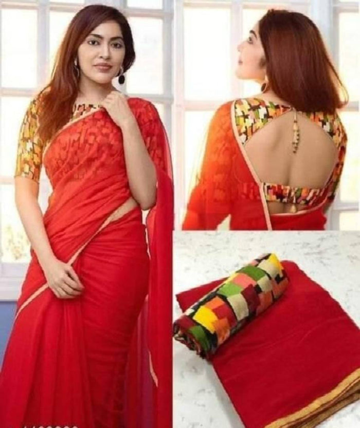Attractive Georgette Solid Saree with Blouse piece - pricegrill.com