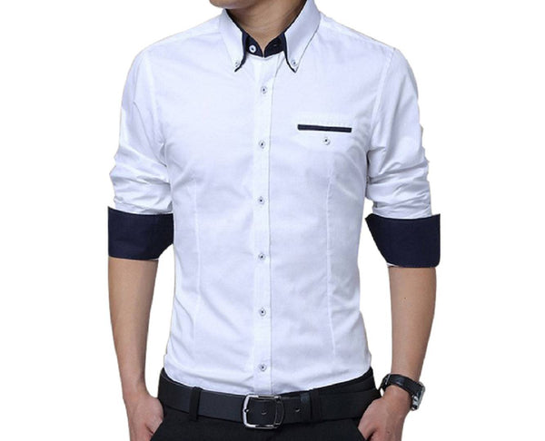 Men's White Solid Cotton Slim Fit Casual Shirt - pricegrill.com