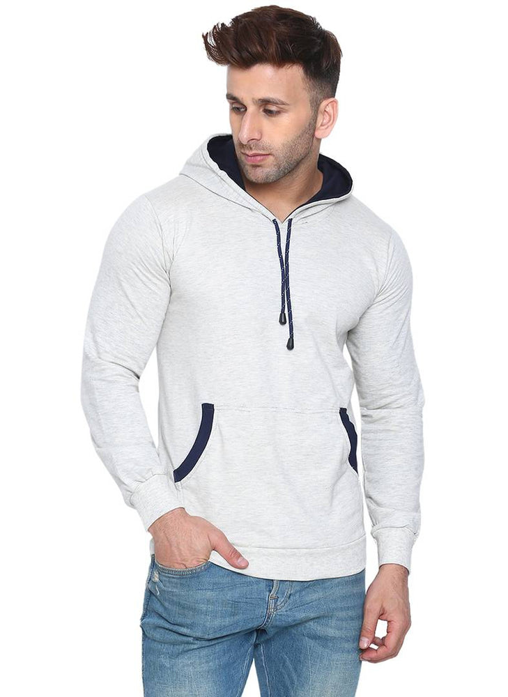 Men's White Cotton Solid  Long Sleeves Regular Hooded Pullover