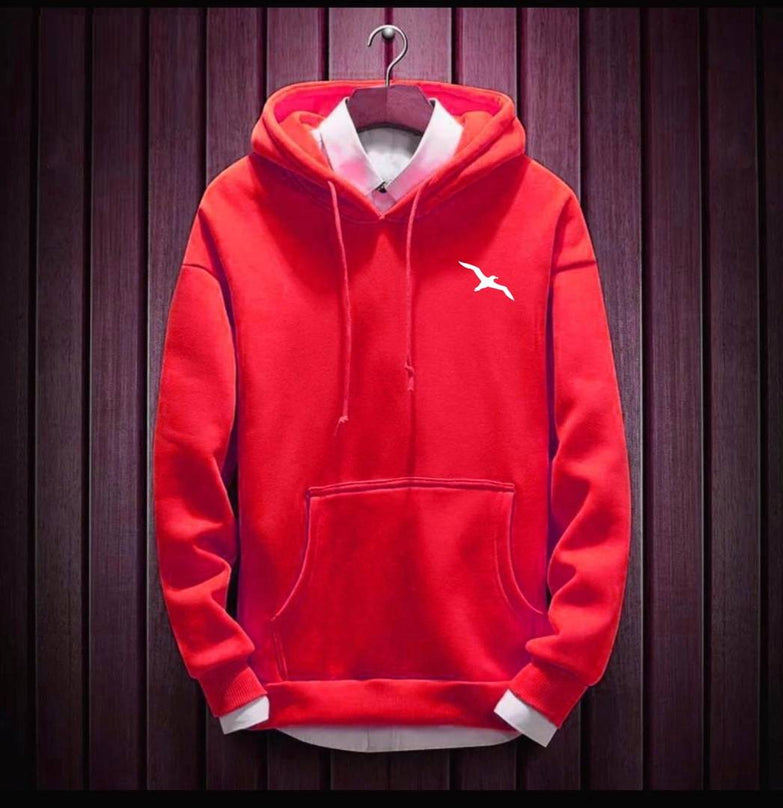 Men's Red Cotton Blend Solid  Long Sleeves Regular Hoodies