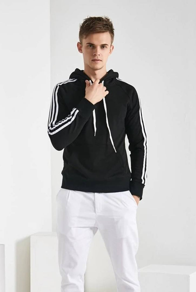 Men's Black Fleece Self Pattern Long Sleeves Regular Sports Hooded Sweatshirt