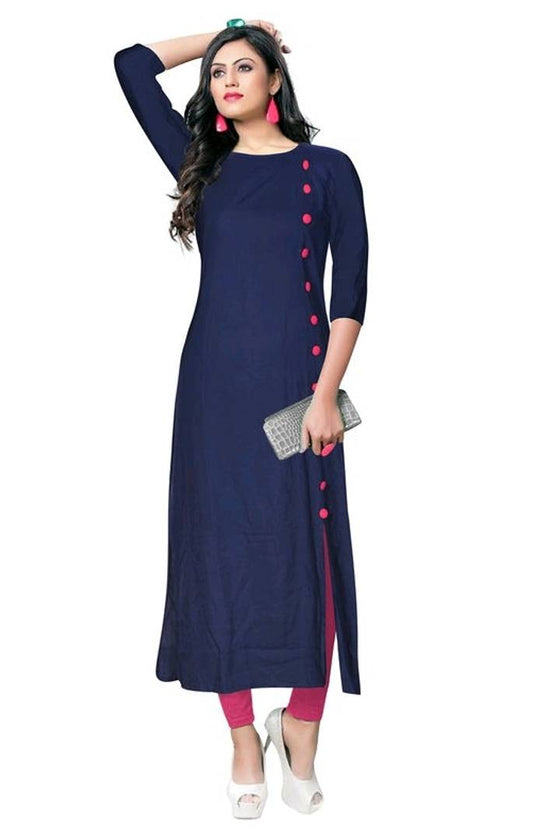 Best Selling Rayon Solid Kurti With Button Work