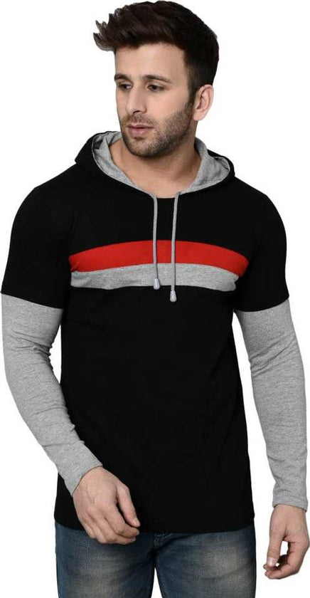 Men's Black Cotton Self Pattern Hooded Tees - pricegrill.com