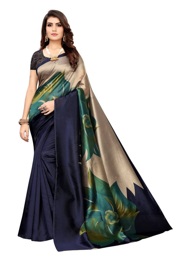 Elegant Kalamkari Art Silk Print Saree With Blouse Piece