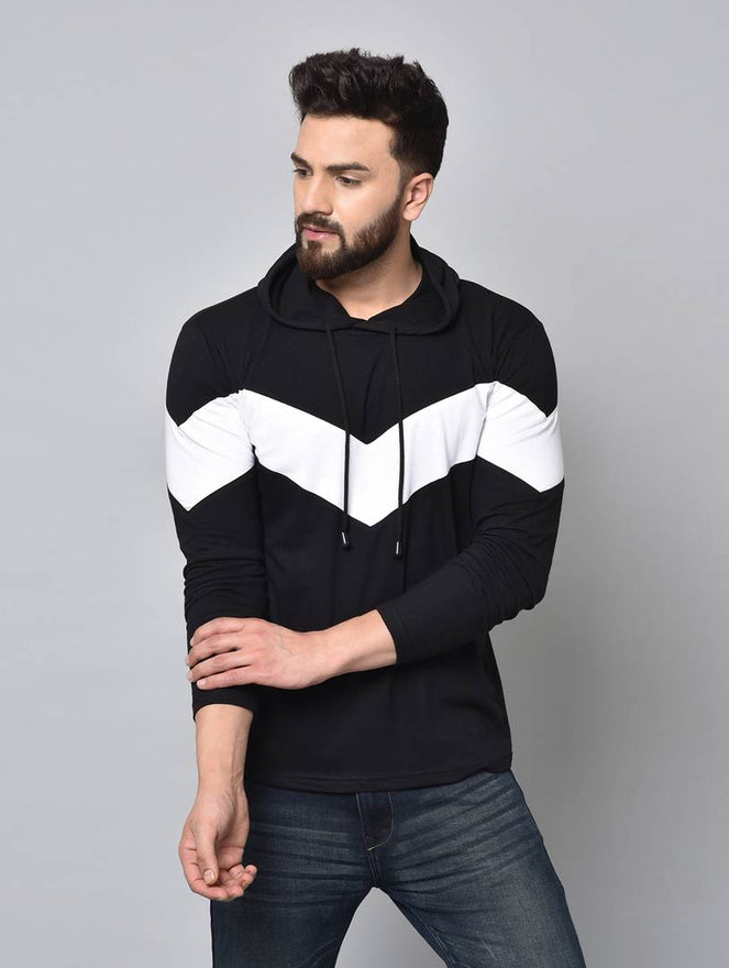 Men's Black Colourblocked Cotton Hooded Tees