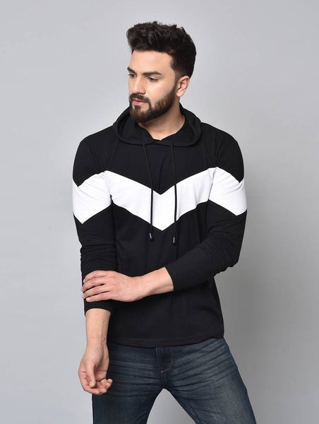 Men's Black Colourblocked Cotton Hooded Tees - pricegrill.com
