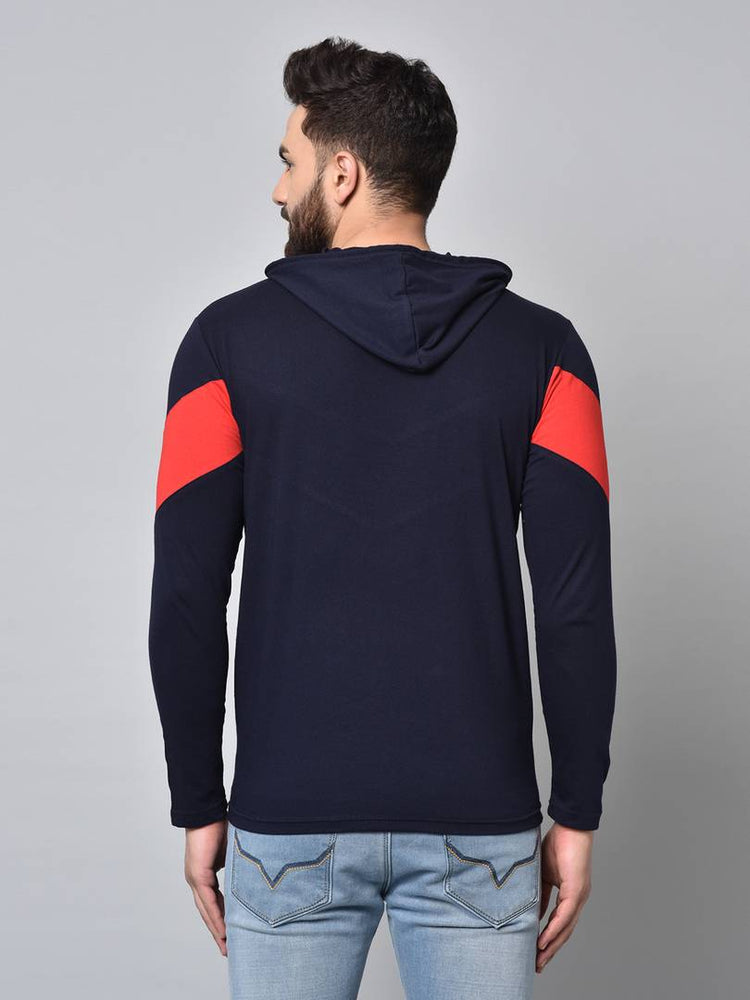 Men's Navy blue Colourblocked Cotton Hooded Tees