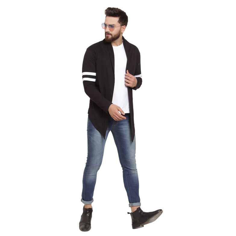 Men's Self Design  Black Cotton Cardigan Sweaters