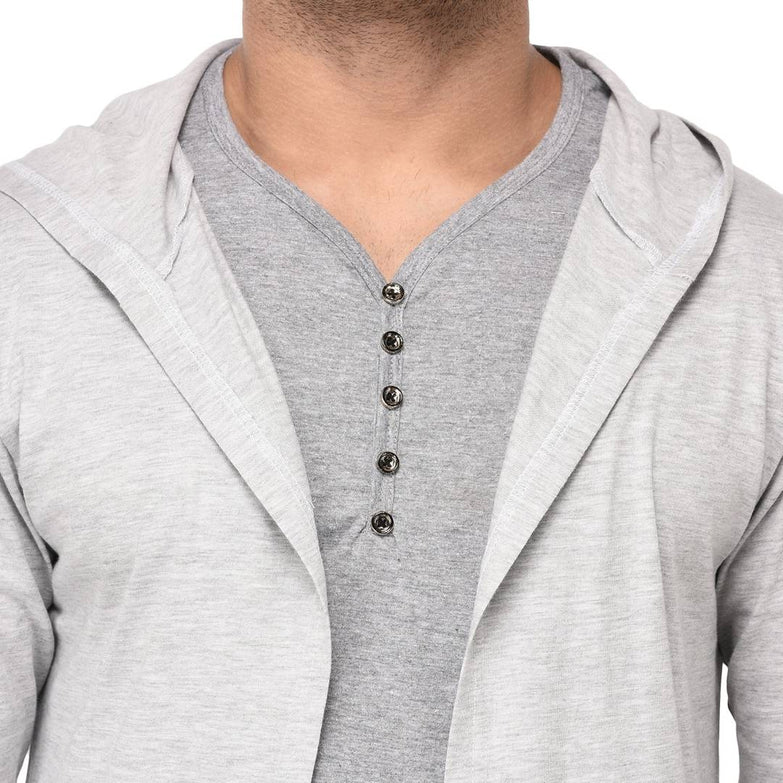 Men's Solid Grey Cotton Cardigan Sweaters