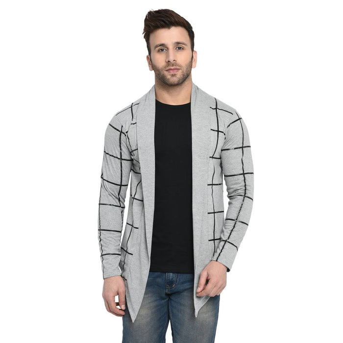 Men's Checked Grey Cotton Cardigan Sweaters