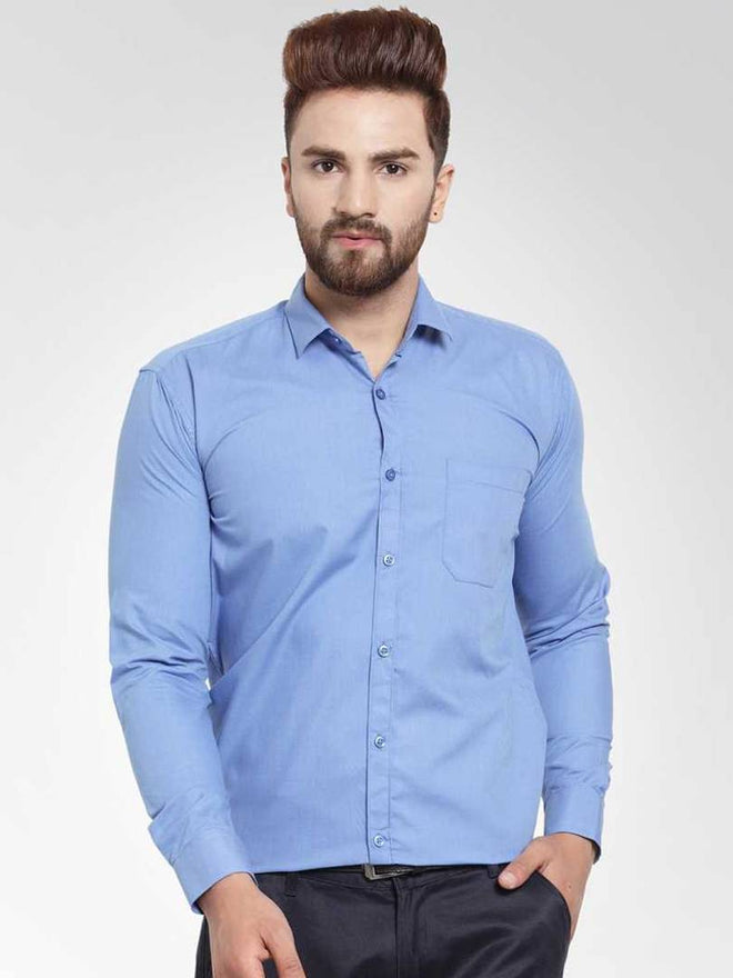 Men's Blue Cotton Solid Long Sleeves Regular Fit Formal Shirt - pricegrill.com