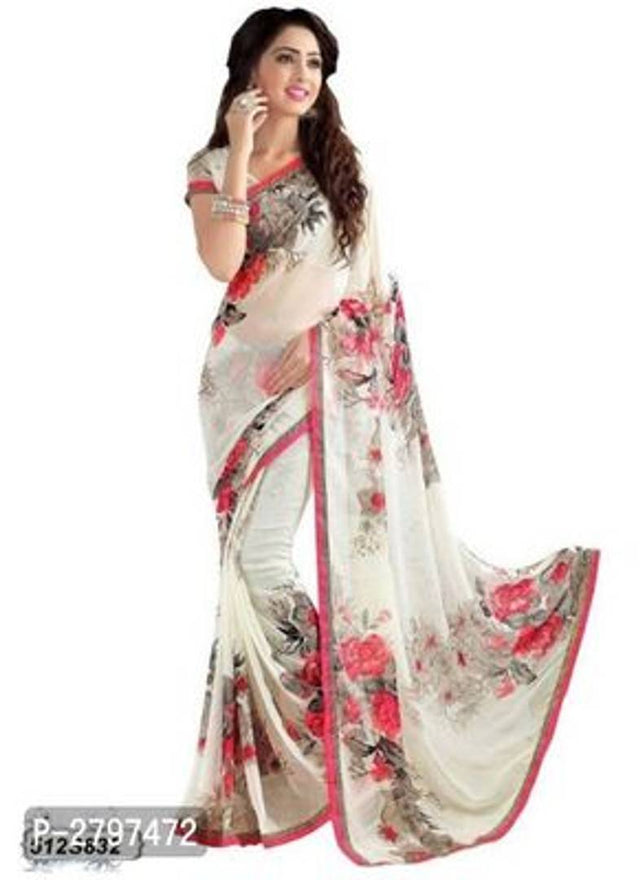 Stylish Georgette Printed Saree with Blouse Piece