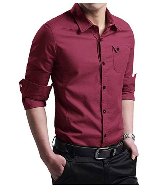 Men's Maroon Cotton Solid Long Sleeves Regular Fit Casual Shirt