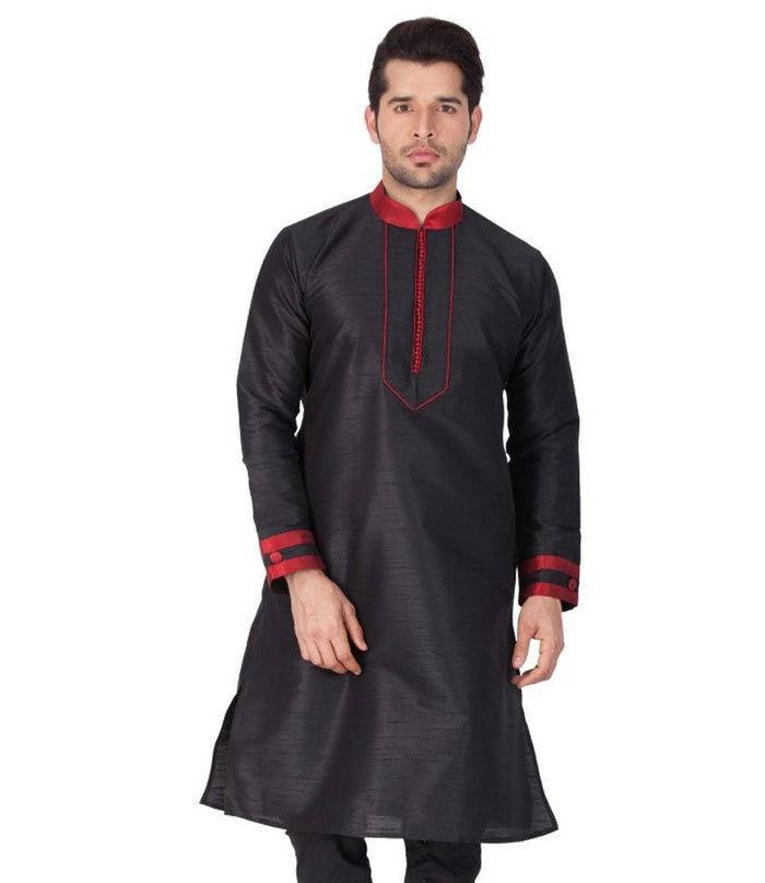 Men Black Cotton Silk Blend Kurta