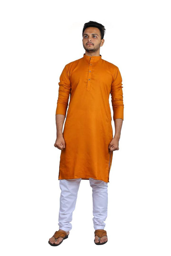 Men Orange Solid Knee Length Kurta