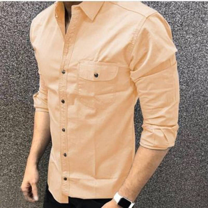 Men's Off White Cotton Long Sleeves Casual Shirts