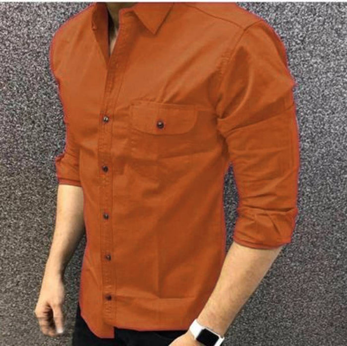 Men's Brown Cotton Long Sleeves Casual Shirts
