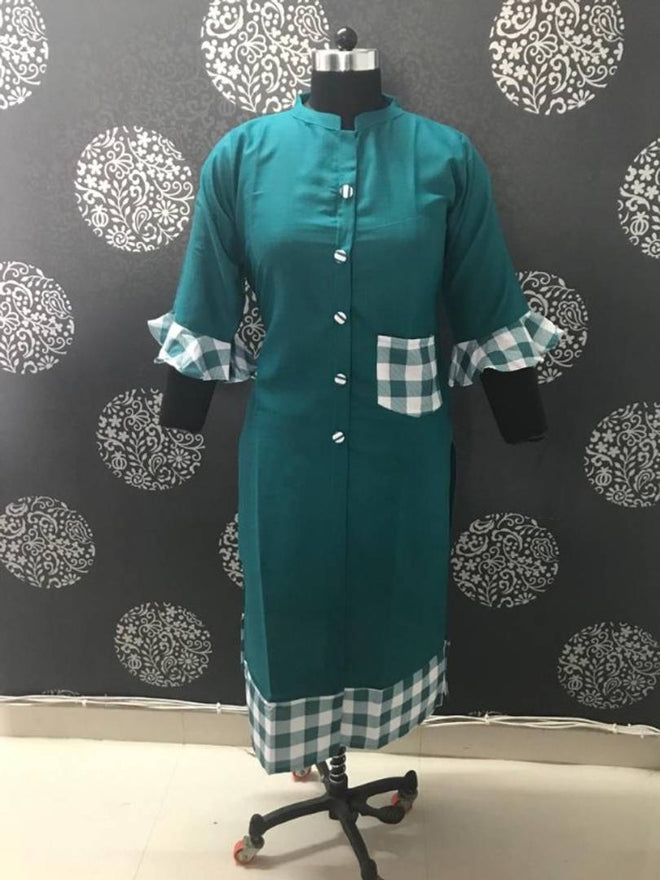 Stylish Green Bell Sleeves Cotton Kurti For Women's - pricegrill.com