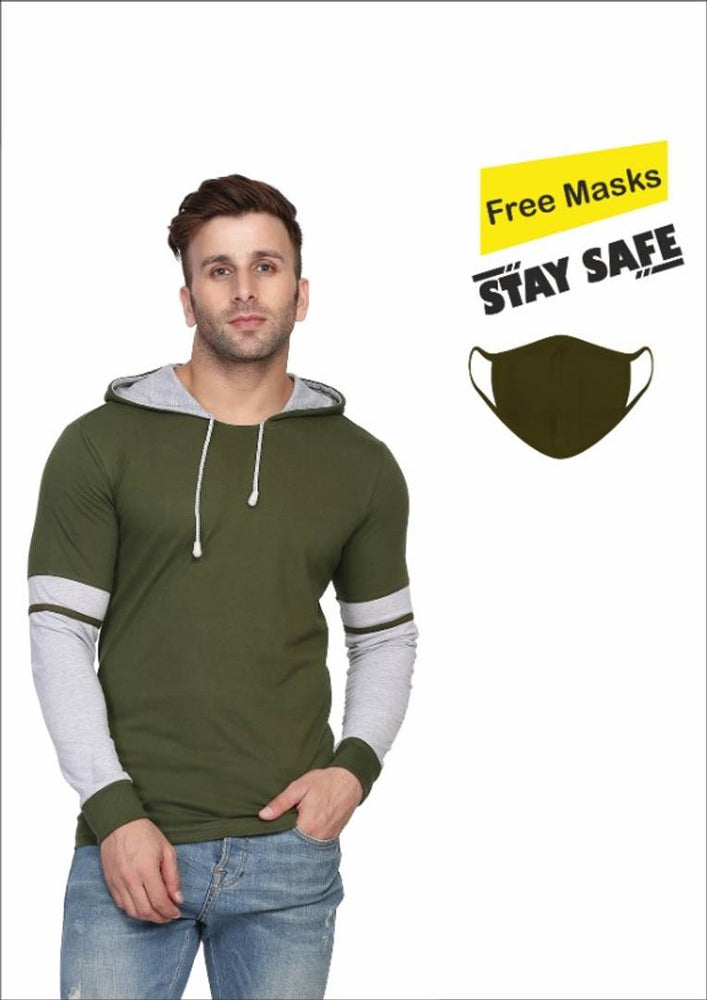Get A Mask Free!!  Green Self Pattern Cotton Blend Hooded Tees