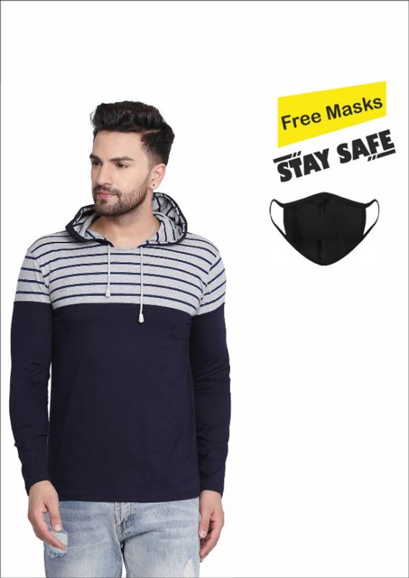 Get A Mask Free!!  Navy Blue Striped Cotton Hooded Tees