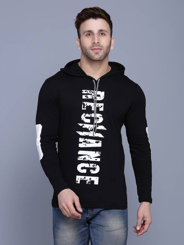 Black Printed Cotton Hooded T Shirt