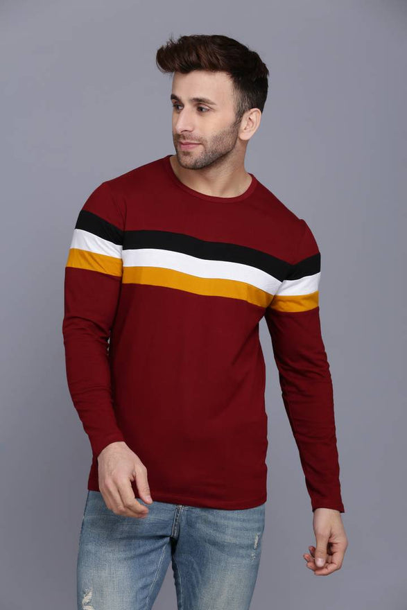 Maroon Self Pattern Cotton Round Neck T Shirt