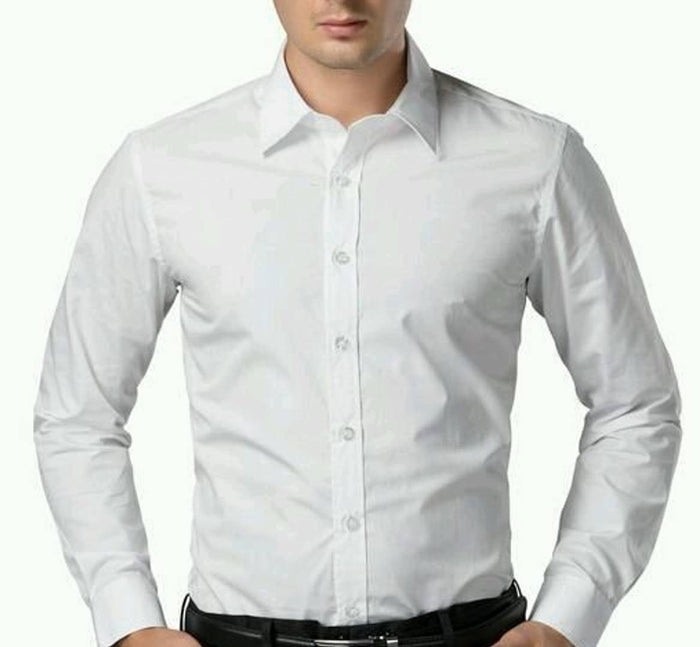 White Cotton Slim Fit Solid Formal Shirt - pricegrill.com